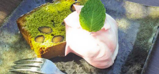 抹茶のパウンドケーキ~桜のクリーム添え~